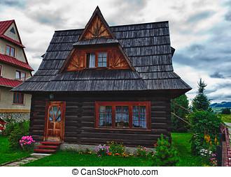 tradicional, casa, em, a, alto, tatra, montanhas, polônia