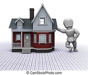 tradicional, casa, homem, madeira
