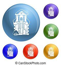 tradicional, casa, jogo, ícones