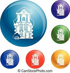tradicional, casa, jogo, vetorial, ícones