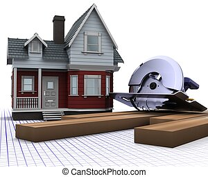 tradicional, casa, madeira
