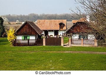 tradicional, casas, 19, aldea, siglo