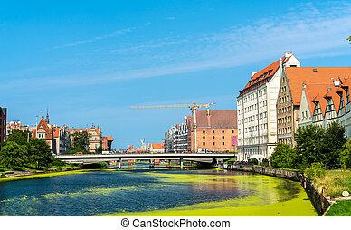 tradicional, casas, perto, a, motlawa, rio, em, gdansk,...