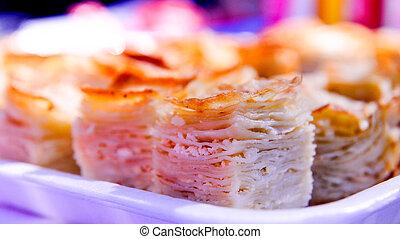 tradicional, caseiro, macedônio, alimento, pitulitsa