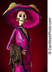 tradicional, catrina, mexicano, dead., día