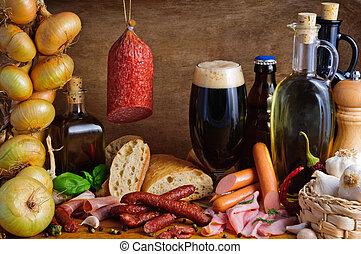 tradicional, cerveza, salchichas
