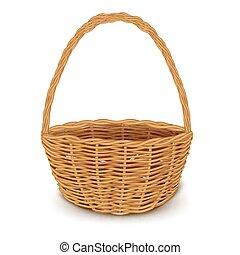 tradicional, cesta de mimbre, aislado