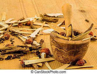 tradicional, chá, medicina, chinês