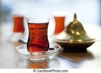 tradicional, chá, turco