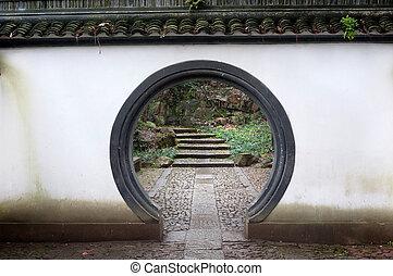 tradicional, chinês, arredondado, entrada, ligado, beishan, colina, hangzhou, china