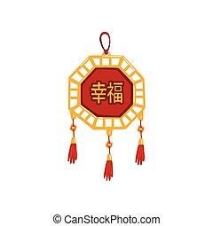 tradicional, chinês, ilustração, elemento, decoração, vetorial, fundo, ano, novo, branca