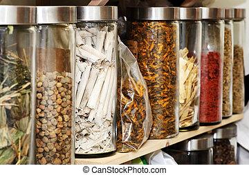 tradicional, chinês, medicinas herbáceas