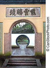 tradicional, chinês, pedra, archway, hangzhou, china
