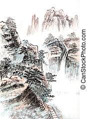 tradicional, chinês, quadro, paisagem