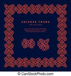 tradicional, chinês, quadro, tracery, desenho, decoração, elementos