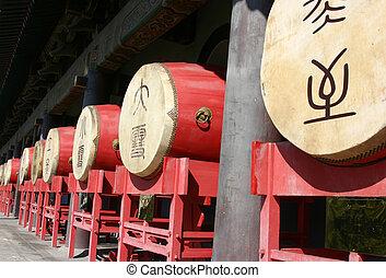 tradicional, chino, tambores, en, el, tambor, torre, -,...
