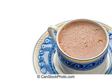 tradicional, chocolate quente mexicano, copo, isolado