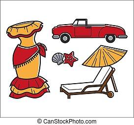 tradicional, conjunto, cuba, nacional, aislado, símbolos,...