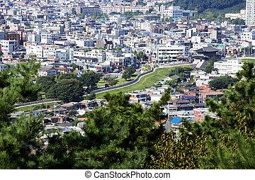 tradicional, coréia, arquitetura, sul