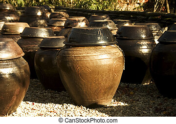 tradicional, coréia, jarro, sul, estacas