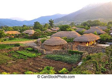 tradicional, coréia sul, vila