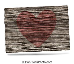 tradicional, coração, madeira, desenho