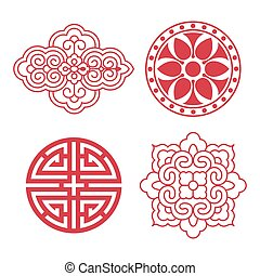 tradicional, coreano, elementos, diseño
