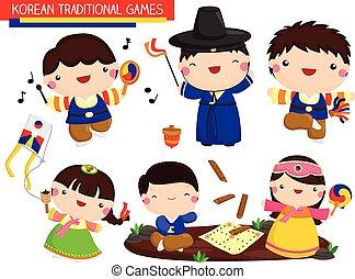 tradicional, coreano, juegos