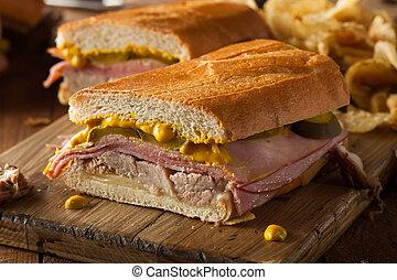 tradicional, cubano, sándwiches, casero