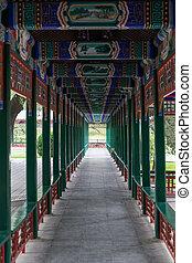 tradicional, cubierto, viejo, sendero, beijing, parque, china