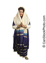 tradicional, cuerpo, indio, ropa, lleno