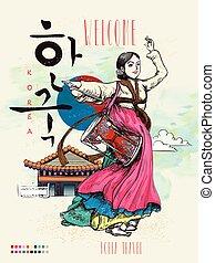 tradicional, dança, coréia, janggo