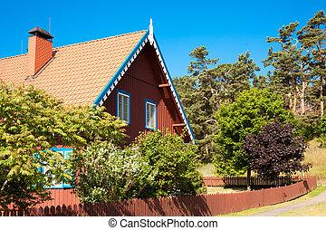 tradicional, de madera, nida, arquitectura