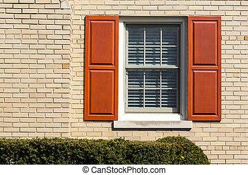 tradicional, de madera, ventana, shutters.