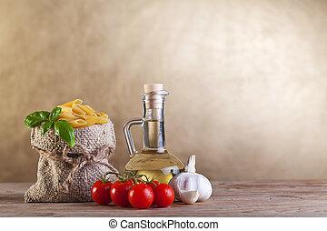 tradicional, dieta, conceito, com, macarronada