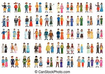 tradicional, diferente, pessoas, traje, países