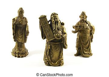 tradicional, dioses, deidades, chino
