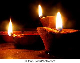 tradicional, diwali, lámparas