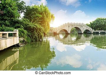 tradicional, edificio, bridges., chino