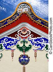 tradicional, edificio, chino, techo