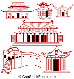 tradicional, edificios, chino