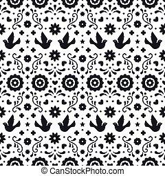 tradicional, elementos, arte, mexico., padrão, folhas, ornament., fiesta, seamless, flores, experiência., desenho, folclore, ornate, floral, mexicano, branca, partido., pássaros, povo