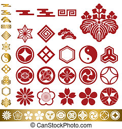 tradicional, elementos, jogo, japoneses