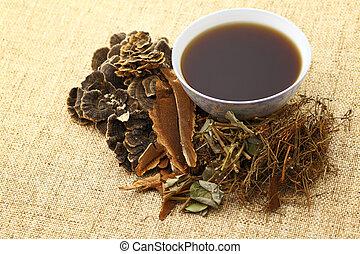 tradicional, ervas, medicina, chinês, bebida