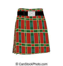 tradicional, escocés, falda escocesa