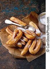 tradicional, espanhol, churros, com, açúcar