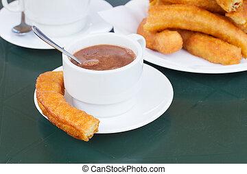 tradicional, espanhol, massa, -, churros
