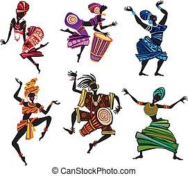 tradicional, estilo, étnico, dançar, pessoas