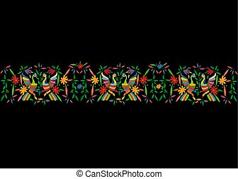 tradicional, estilo, ou, mexicano, pavão, cidade, pássaros, tenango, mexico., fundo, isolado, seamless, têxtil, hidalgo, pretas, modelo, floral, composição, coloridos, quadro, bordado
