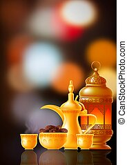 tradicional, fiesta, temas, iftar, invitación